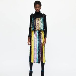 NWT Zara Size XS Sequin Multicolor Strappy Top